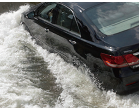 Flooded Road Driving Test
